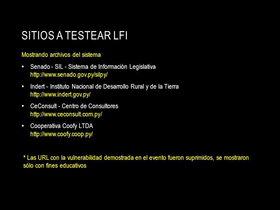 SITIOS A TESTEAR LFI Mostrando archivos del sistema