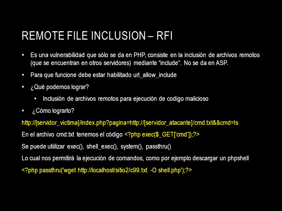 Remote File Inclusion – RFI
