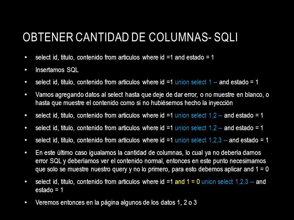 obtener cantidad de columnas- sqli