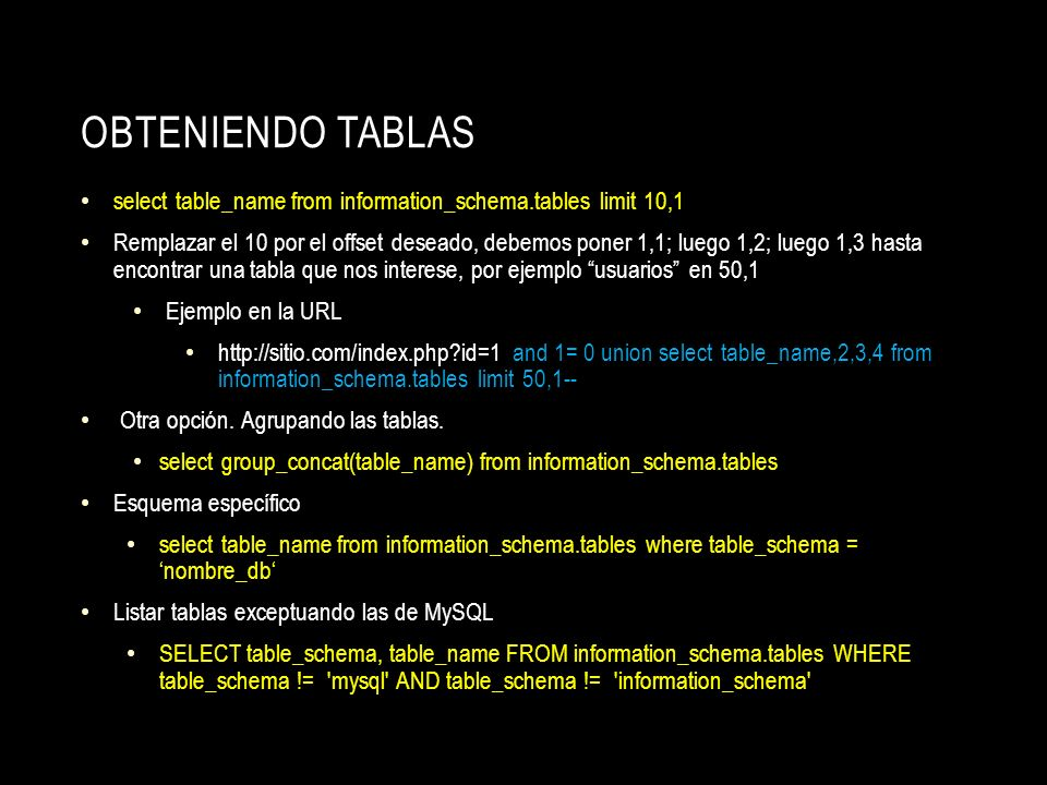 Obteniendo tablas select table_name from information_schema.tables limit 10,1.