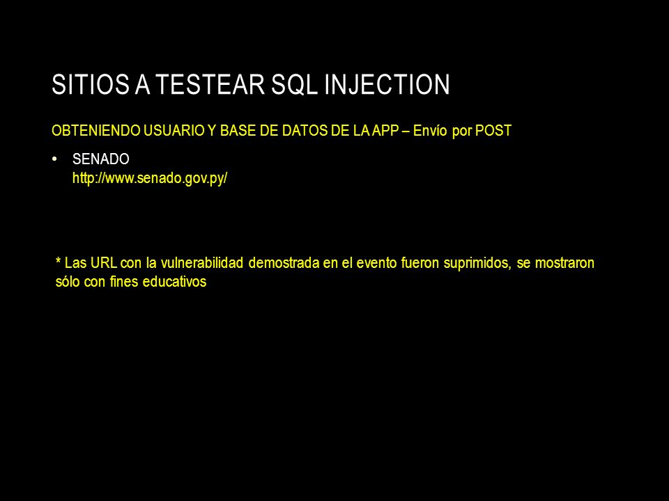 SITIOS A TESTEAR SQL INJECTION