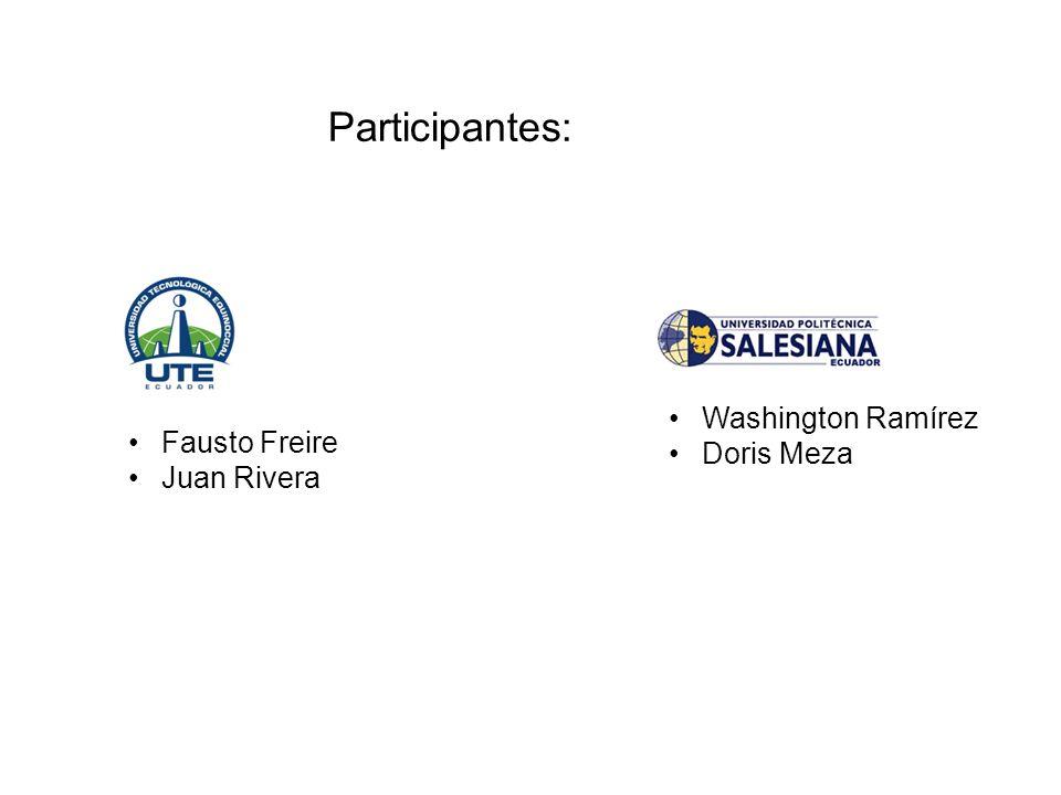 Participantes: Washington Ramírez Doris Meza Fausto Freire Juan Rivera