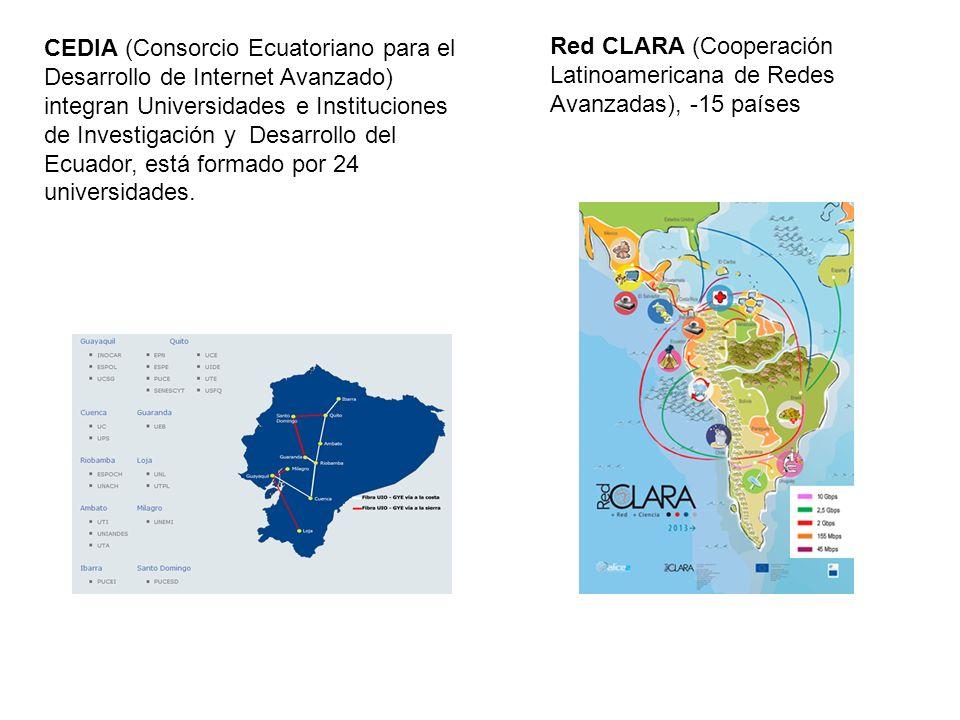 CEDIA (Consorcio Ecuatoriano para el Desarrollo de Internet Avanzado) integran Universidades e Instituciones de Investigación y Desarrollo del Ecuador, está formado por 24 universidades.