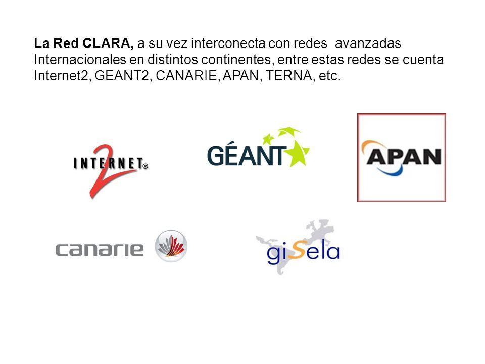 La Red CLARA, a su vez interconecta con redes avanzadas