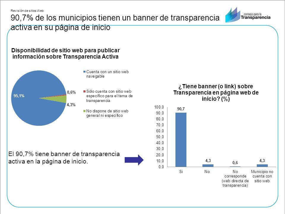 El 90,7% tiene banner de transparencia activa en la página de inicio.