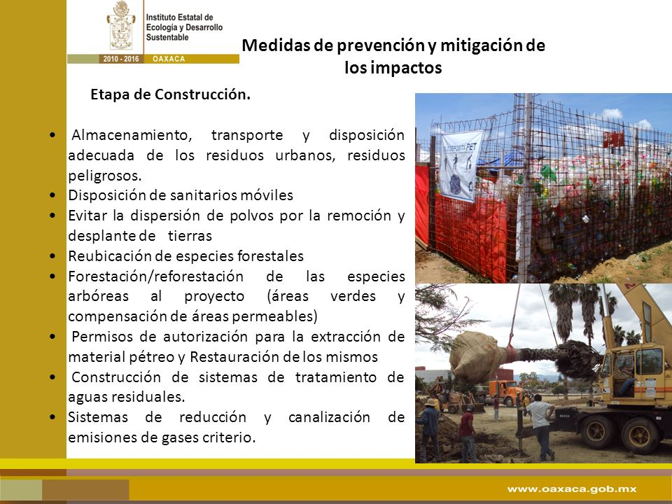 Medidas de prevención y mitigación de los impactos