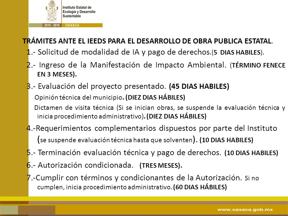 TRÁMITES ANTE EL IEEDS PARA EL DESARROLLO DE OBRA PUBLICA ESTATAL.
