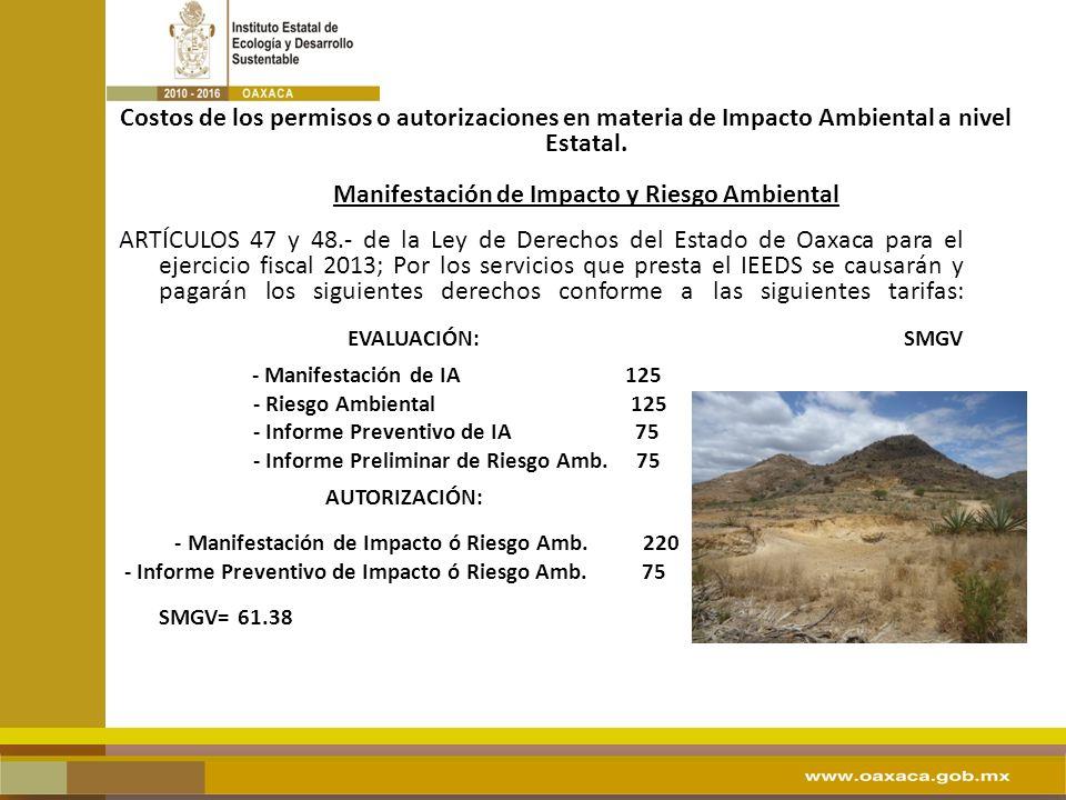 Costos de los permisos o autorizaciones en materia de Impacto Ambiental a nivel Estatal. Manifestación de Impacto y Riesgo Ambiental