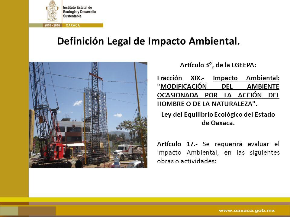Definición Legal de Impacto Ambiental.