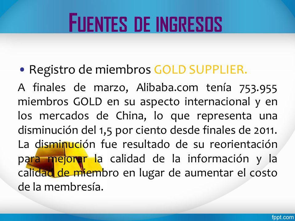 Fuentes de ingresos Registro de miembros GOLD SUPPLIER.