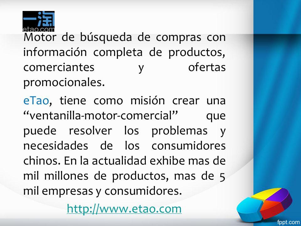 Motor de búsqueda de compras con información completa de productos, comerciantes y ofertas promocionales.