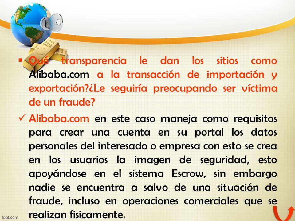 Qué transparencia le dan los sitios como Alibaba