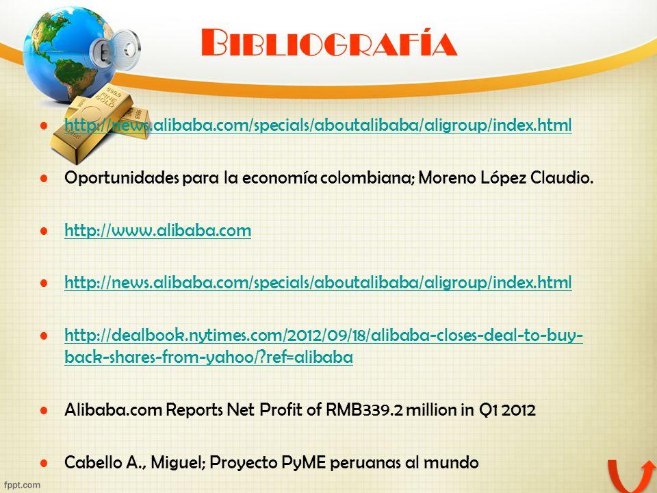 Bibliografía http://news.alibaba.com/specials/aboutalibaba/aligroup/index.html. Oportunidades para la economía colombiana; Moreno López Claudio.
