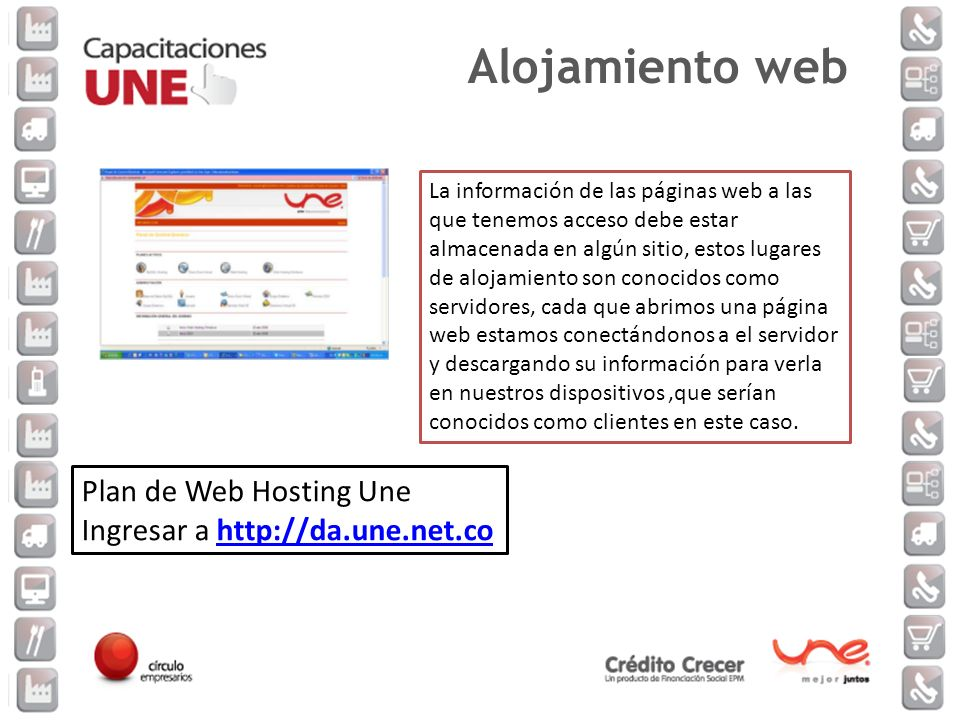 Alojamiento web Plan de Web Hosting Une