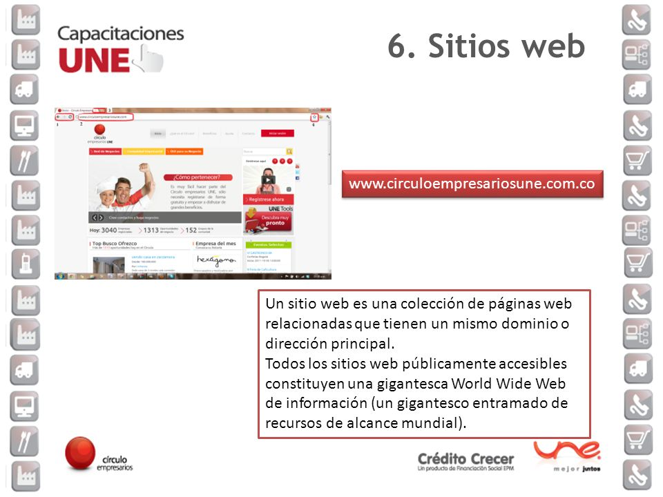 6. Sitios web www.circuloempresariosune.com.co.