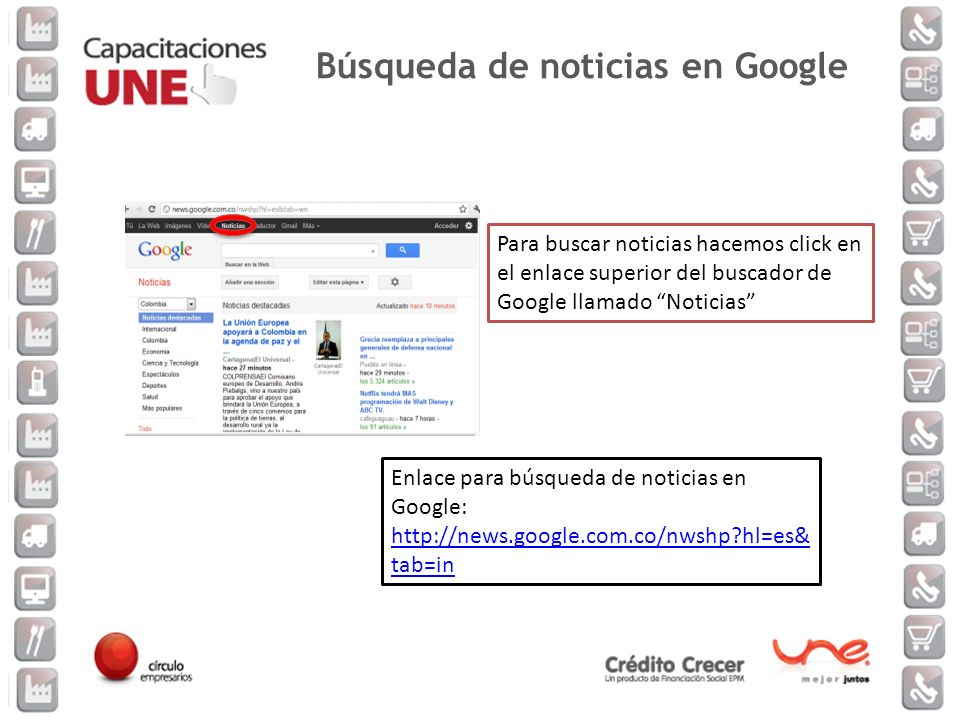 Búsqueda de noticias en Google