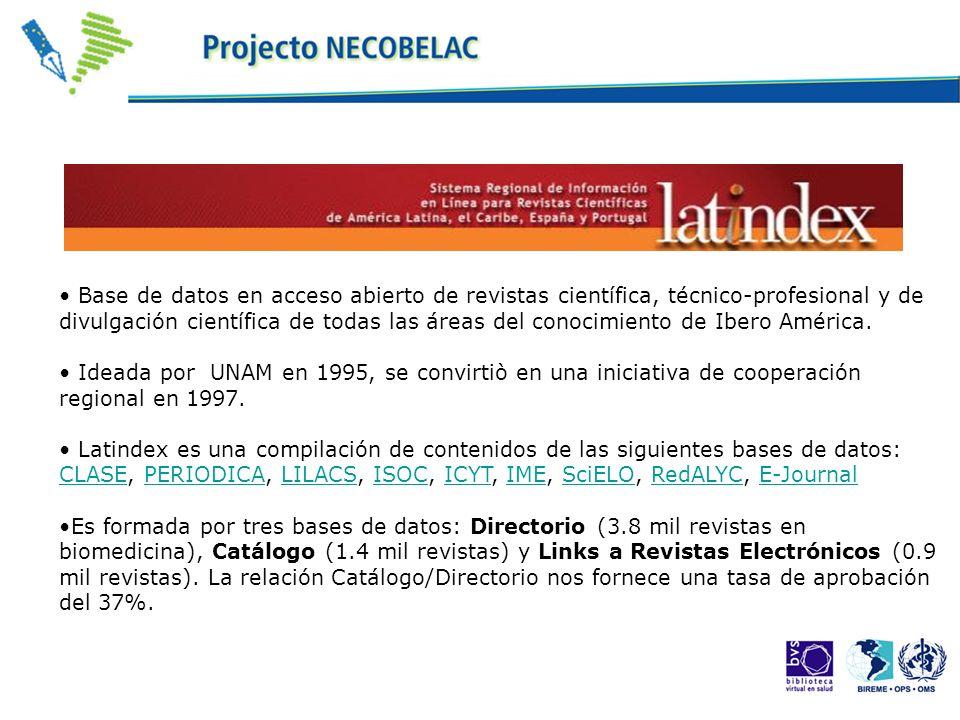 Base de datos en acceso abierto de revistas científica, técnico-profesional y de divulgación científica de todas las áreas del conocimiento de Ibero América.
