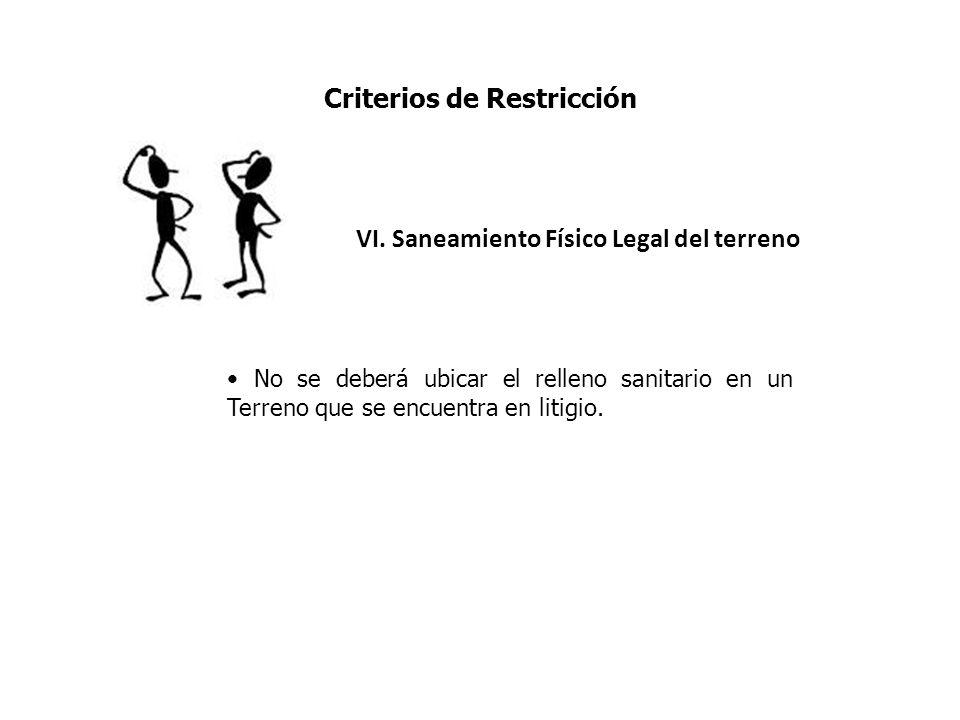 Criterios de Restricción VI. Saneamiento Físico Legal del terreno