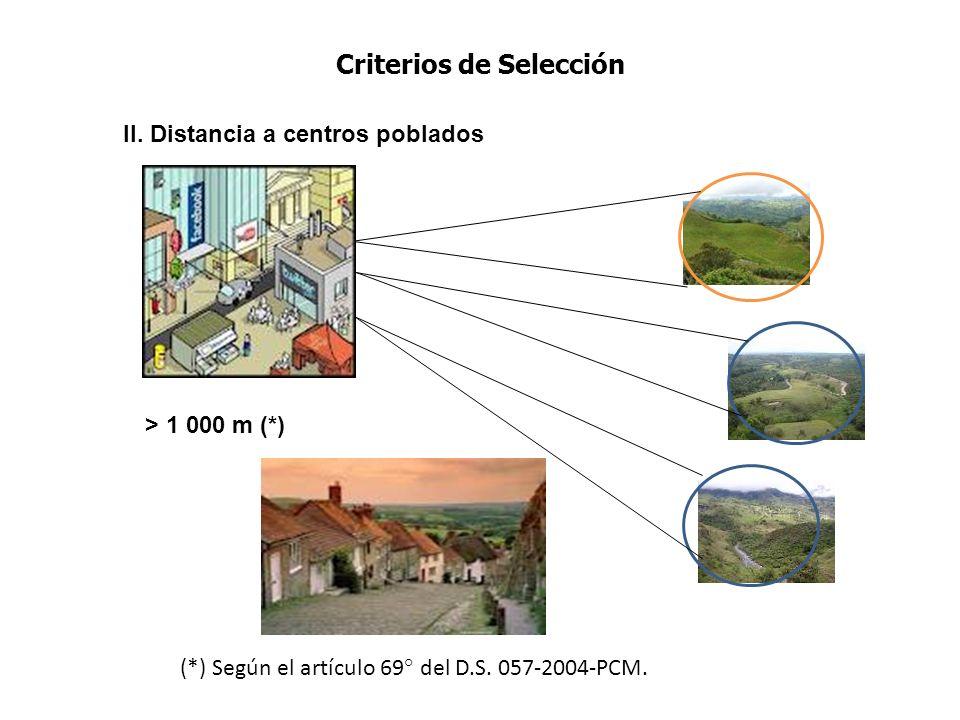 Criterios de Selección II. Distancia a centros poblados