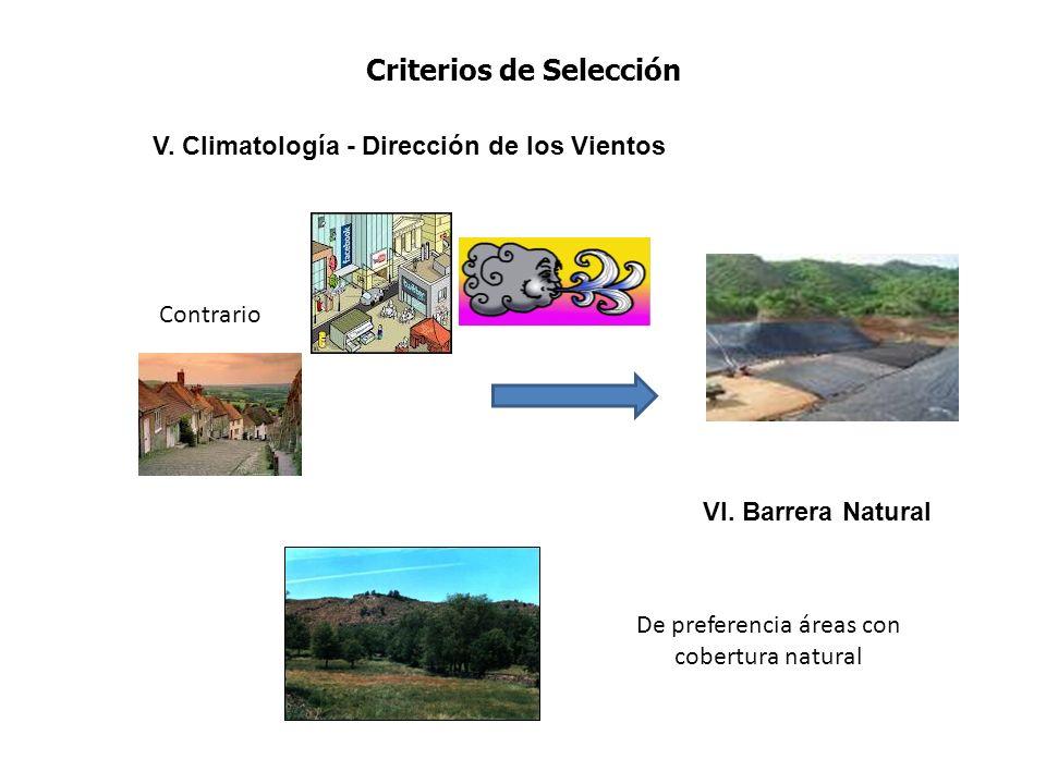 Criterios de Selección V. Climatología - Dirección de los Vientos