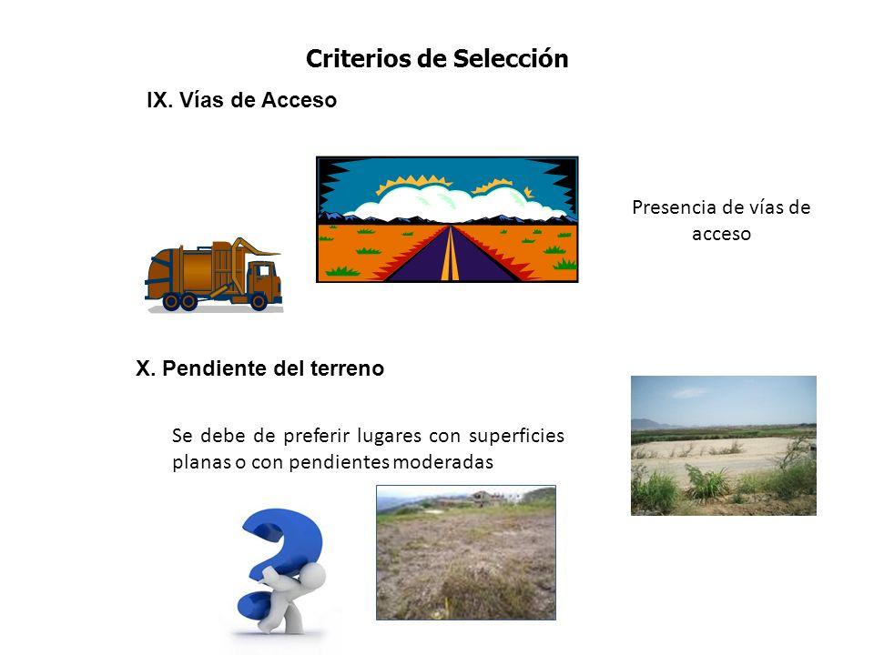 Criterios de Selección X. Pendiente del terreno