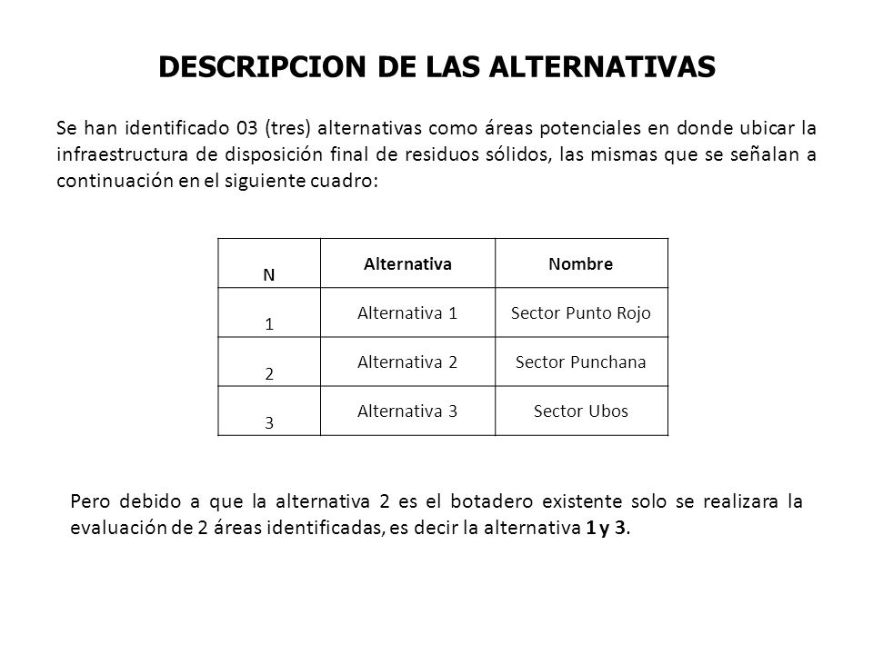 DESCRIPCION DE LAS ALTERNATIVAS