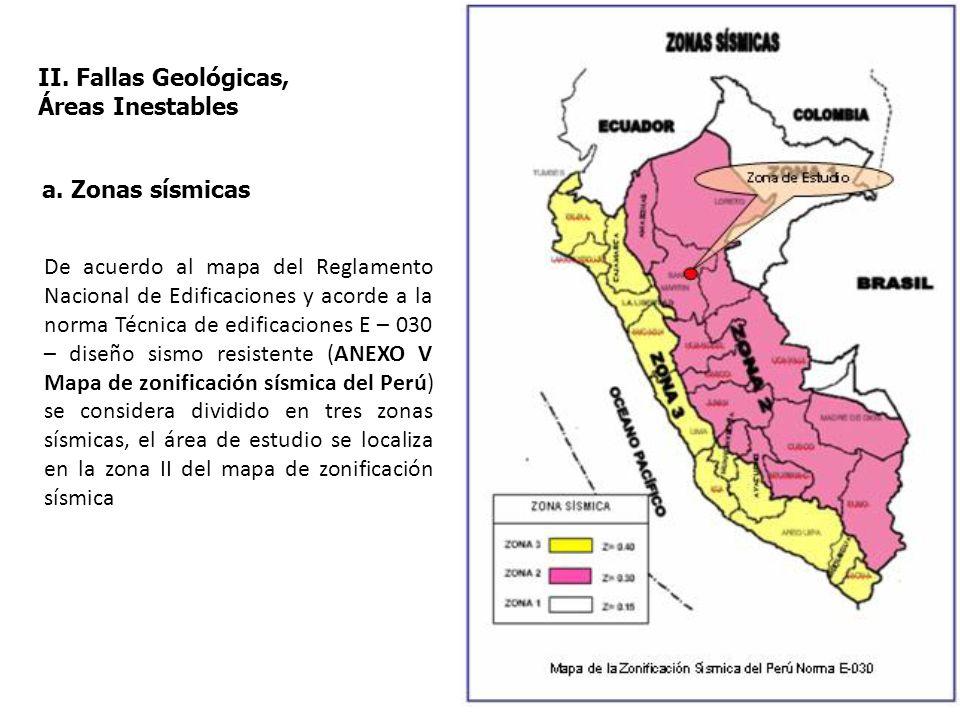 II. Fallas Geológicas, Áreas Inestables