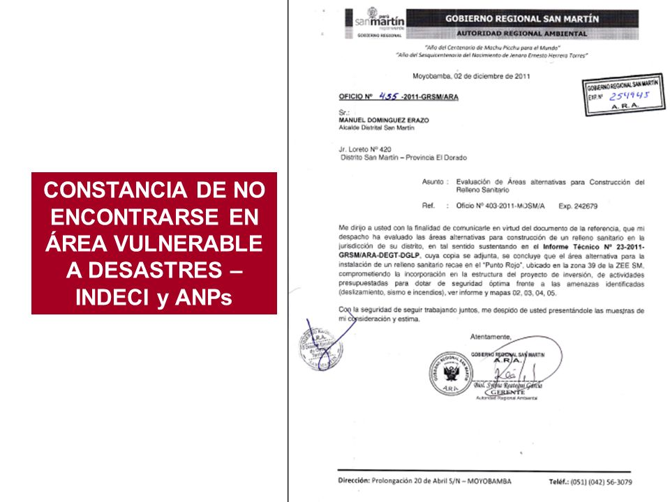 CONSTANCIA DE NO ENCONTRARSE EN ÁREA VULNERABLE A DESASTRES – INDECI y ANPs