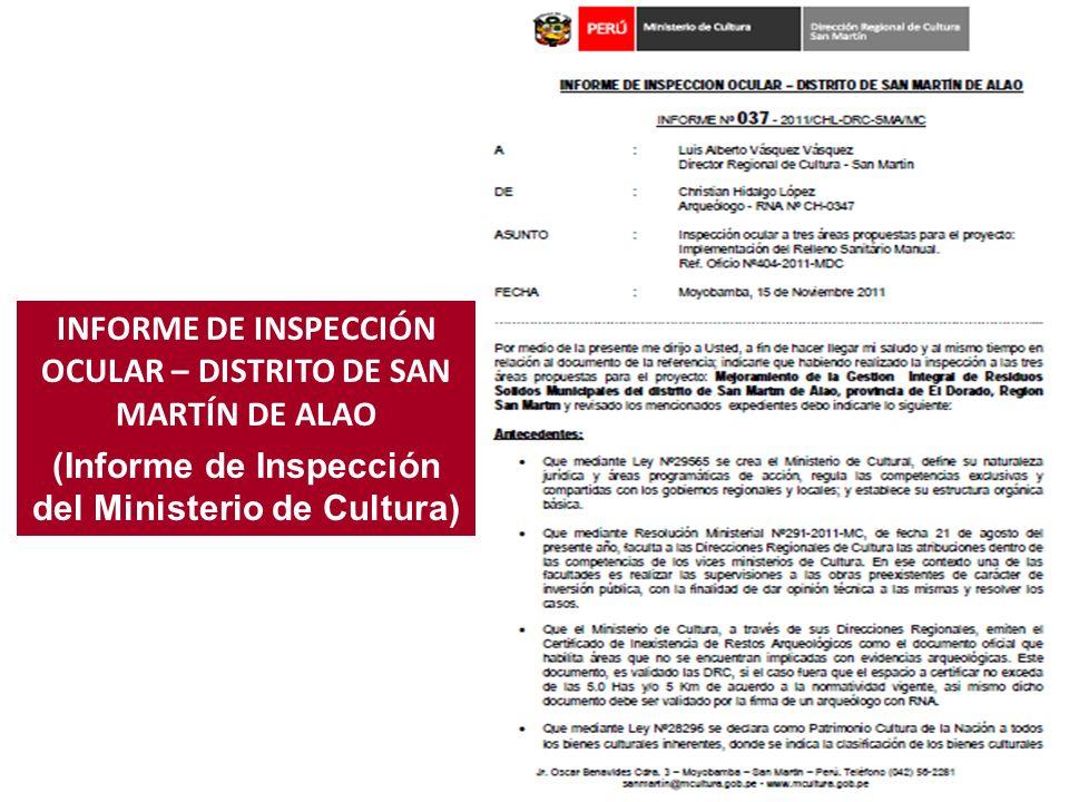 INFORME DE INSPECCIÓN OCULAR – DISTRITO DE SAN MARTÍN DE ALAO