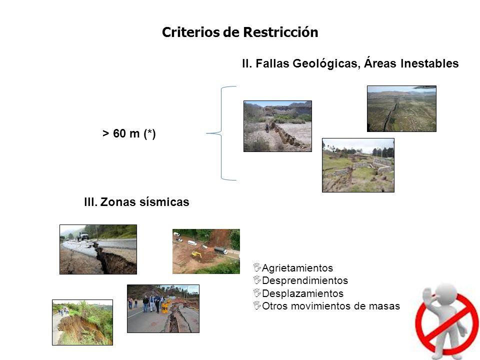 Criterios de Restricción II. Fallas Geológicas, Áreas Inestables