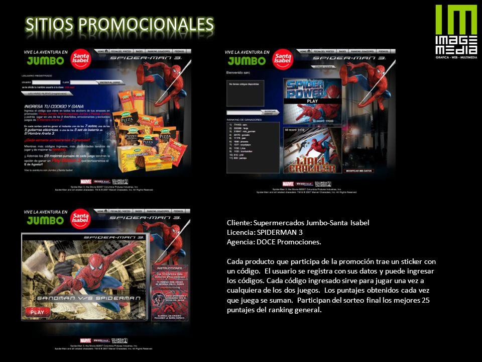 SITIOS PROMOCIONALES Cliente: Supermercados Jumbo-Santa Isabel