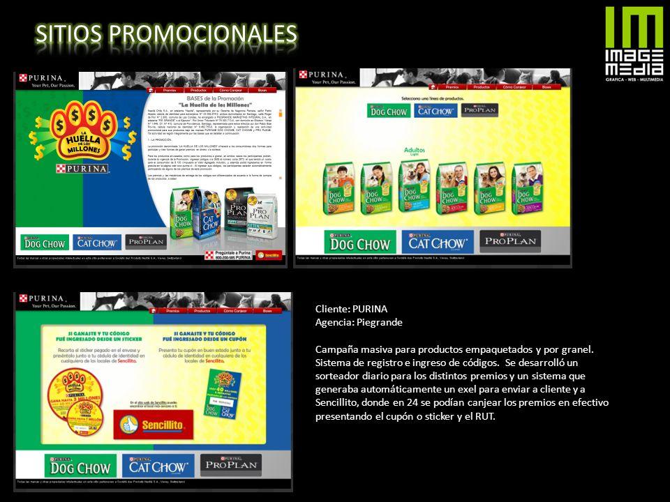 SITIOS PROMOCIONALES Cliente: PURINA Agencia: Piegrande