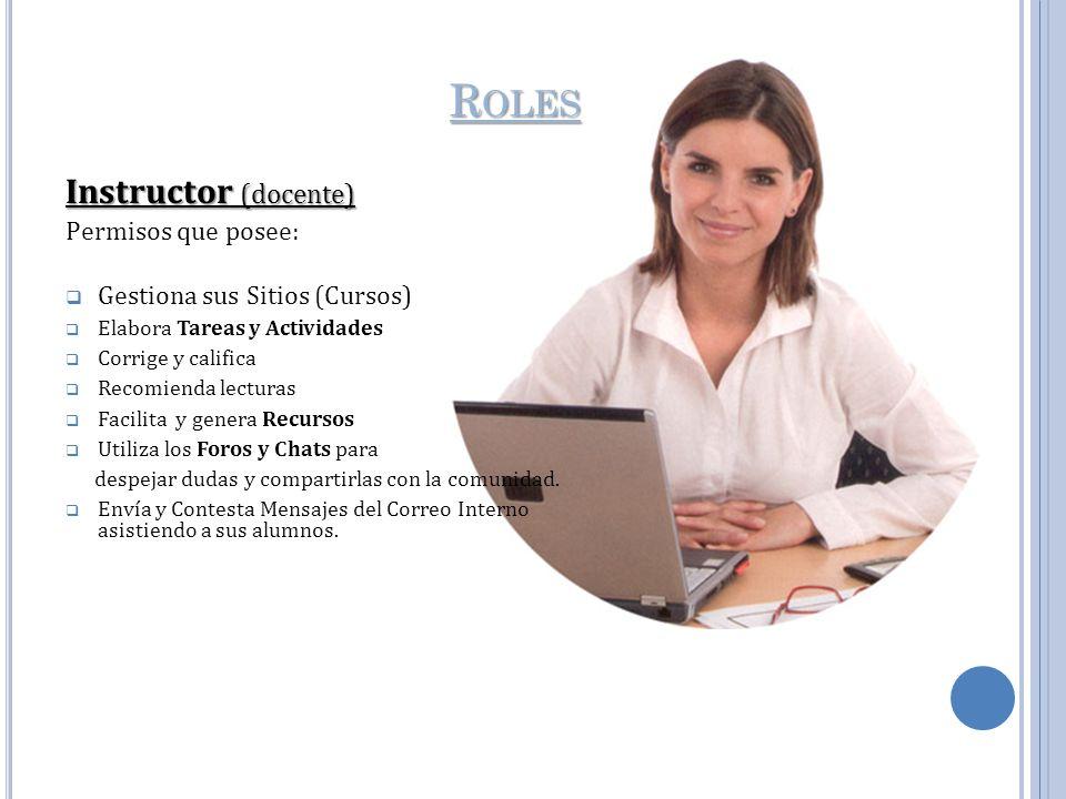Roles Instructor (docente) Permisos que posee: