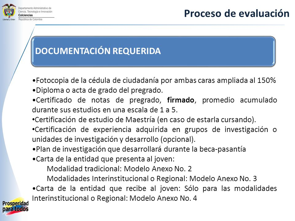 Proceso de evaluación DOCUMENTACIÓN REQUERIDA