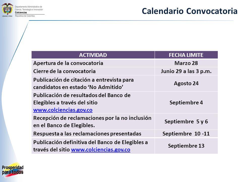Calendario Convocatoria