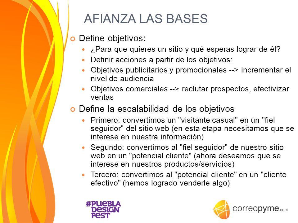 AFIANZA LAS BASES Define objetivos: