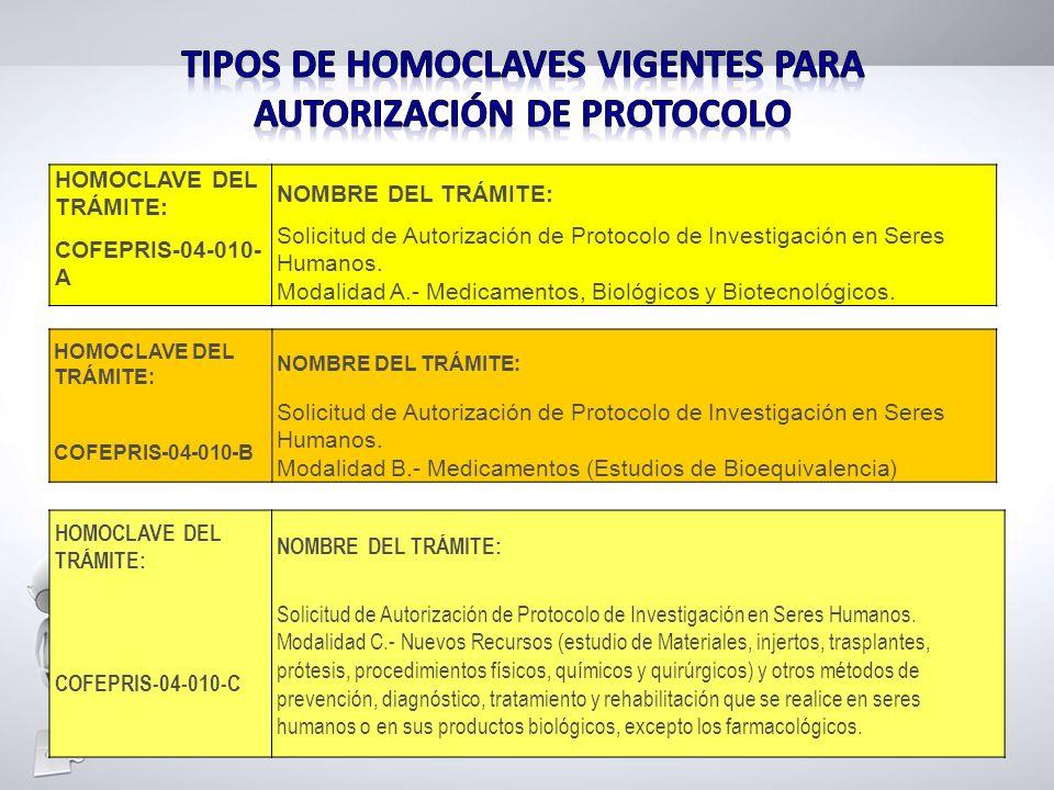 Tipos de HOMOCLAVES VIGENTES PARA AUTORIZACIóN DE PROTOCOLO