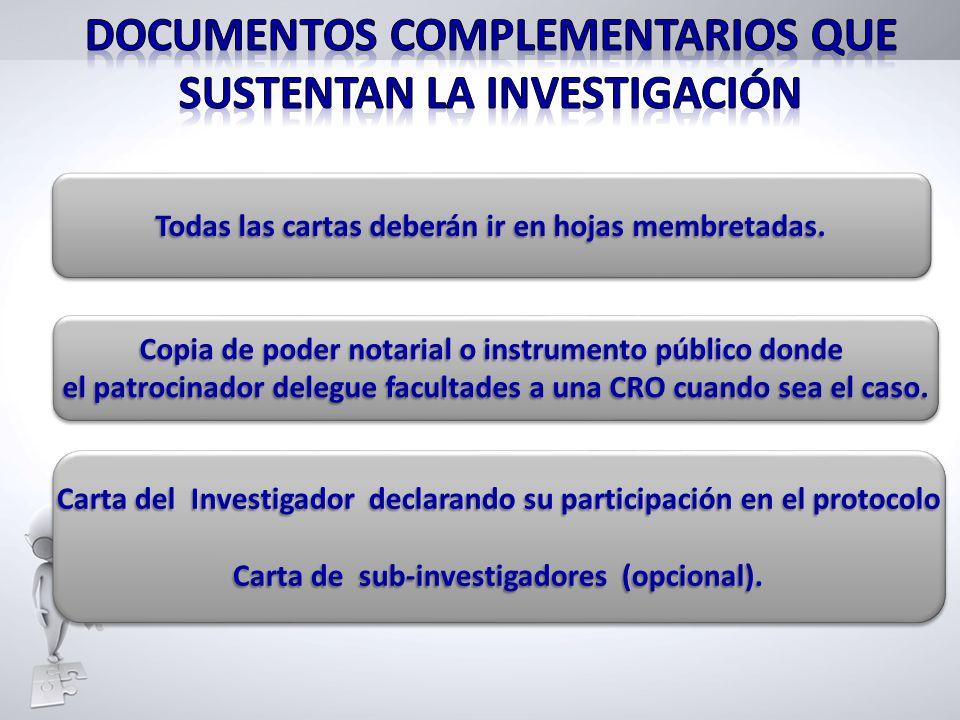 Documentos complementarios que sustentan la investigación