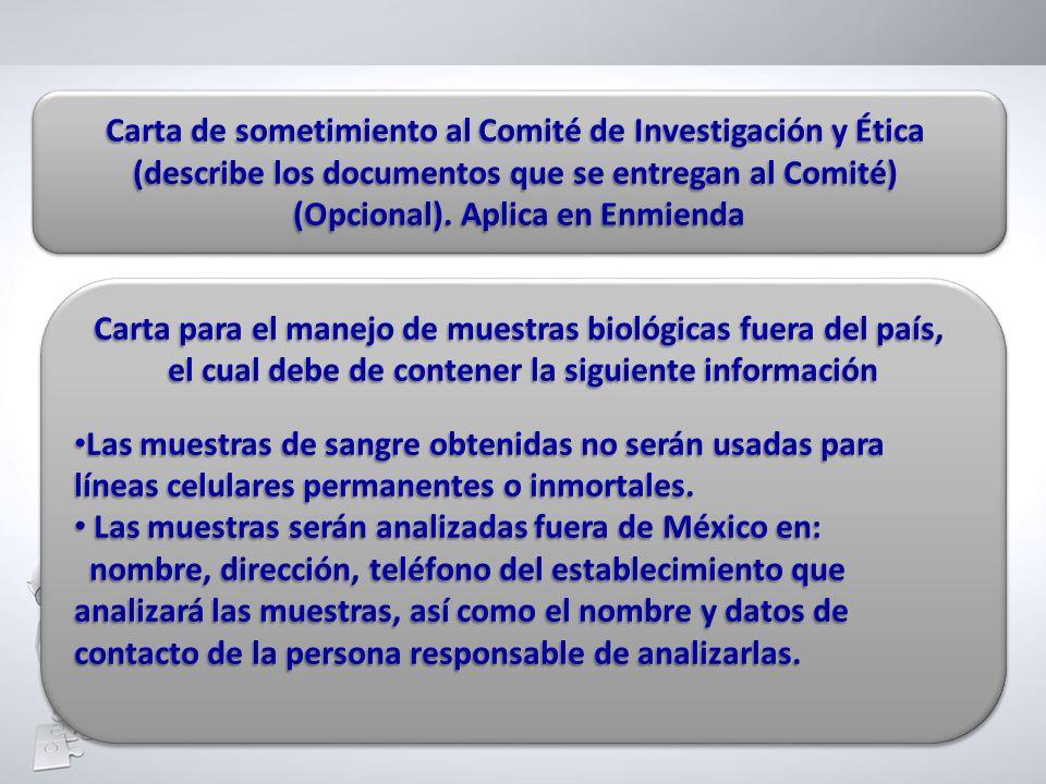 Carta de sometimiento al Comité de Investigación y Ética