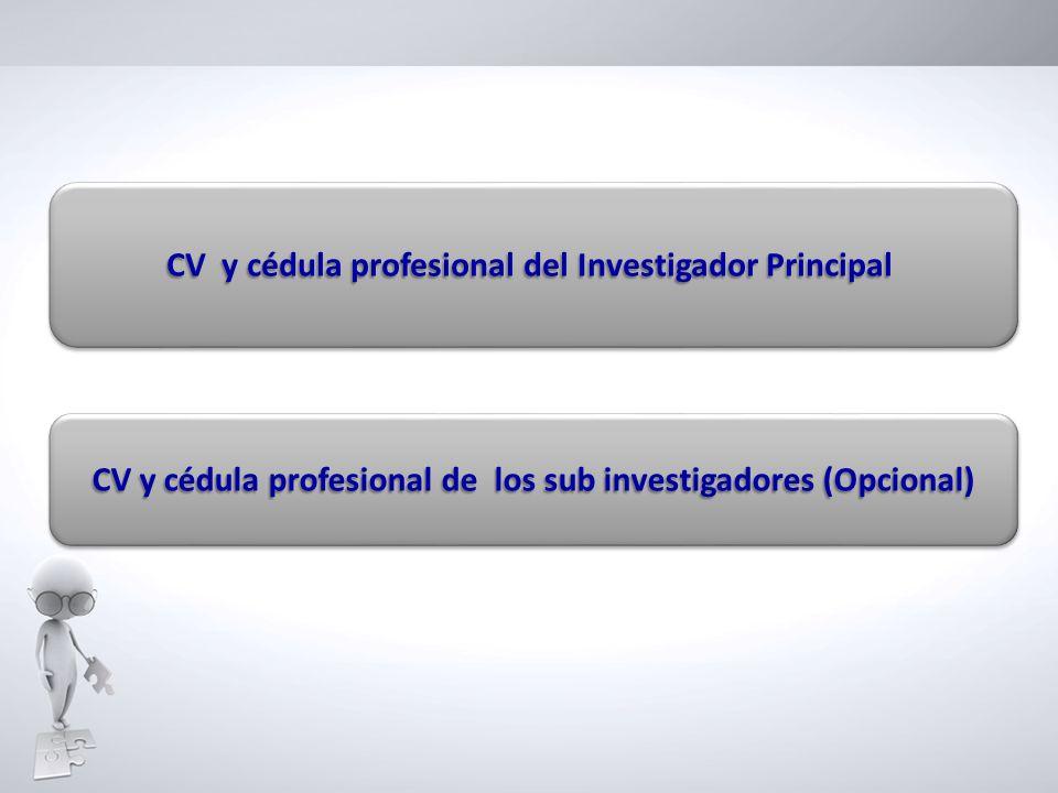 CV y cédula profesional del Investigador Principal