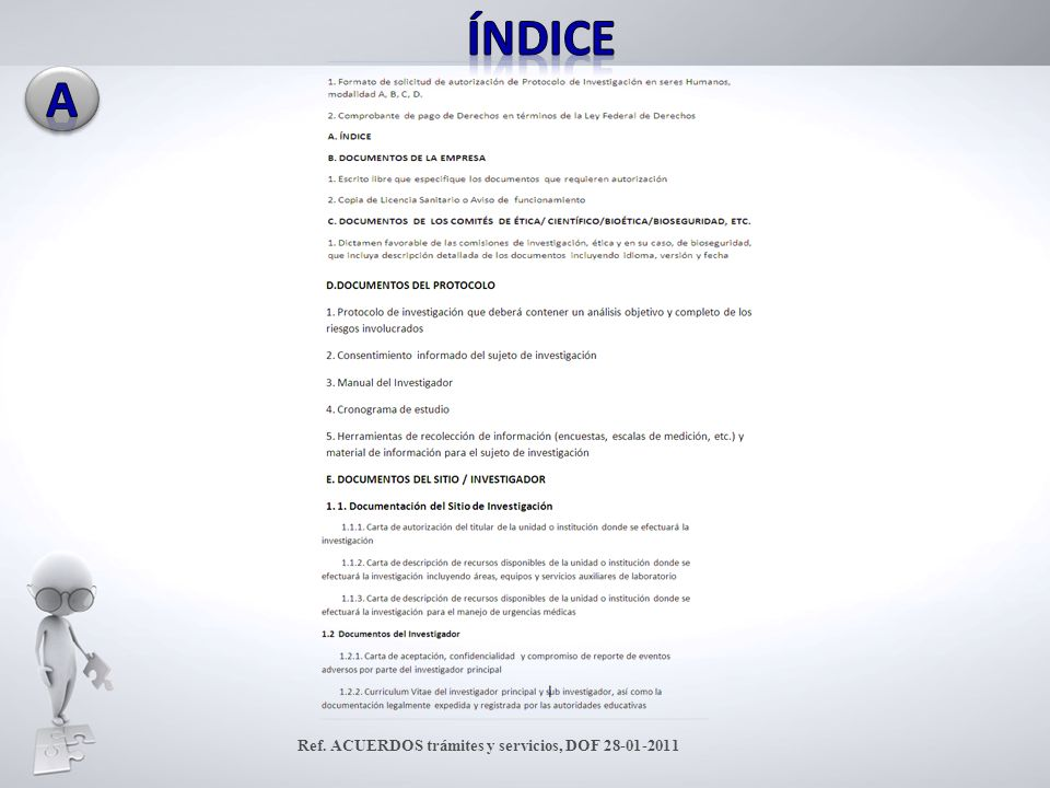 Índice A Ref. ACUERDOS trámites y servicios, DOF 28-01-2011