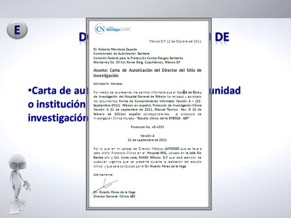 DOCUMENTOS DEL SITIO DE INVESTIGACIÓN