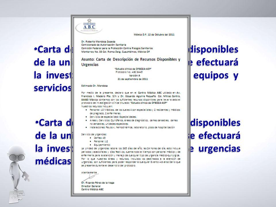 Carta de descripción de recursos disponibles de la unidad o institución donde se efectuará la investigación incluyendo áreas, equipos y servicios auxiliares de laboratorio
