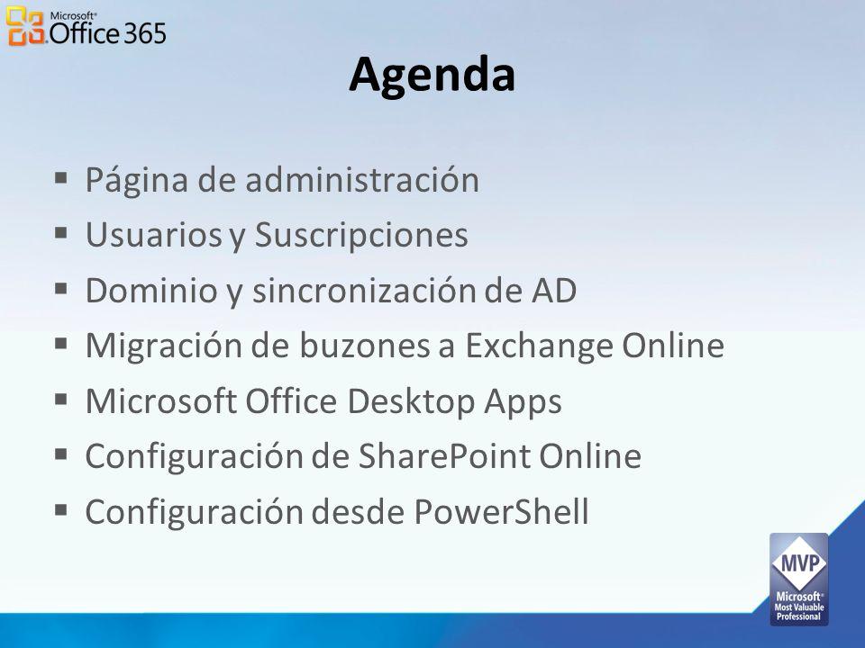 Agenda Página de administración Usuarios y Suscripciones