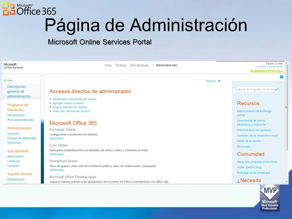 Página de Administración