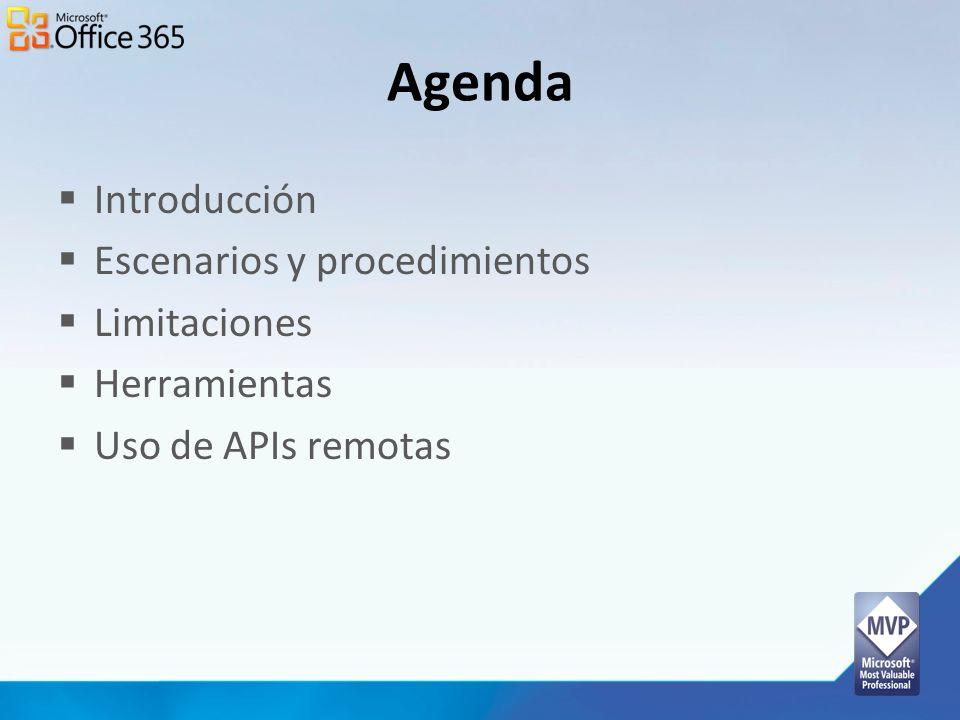 Agenda Introducción Escenarios y procedimientos Limitaciones