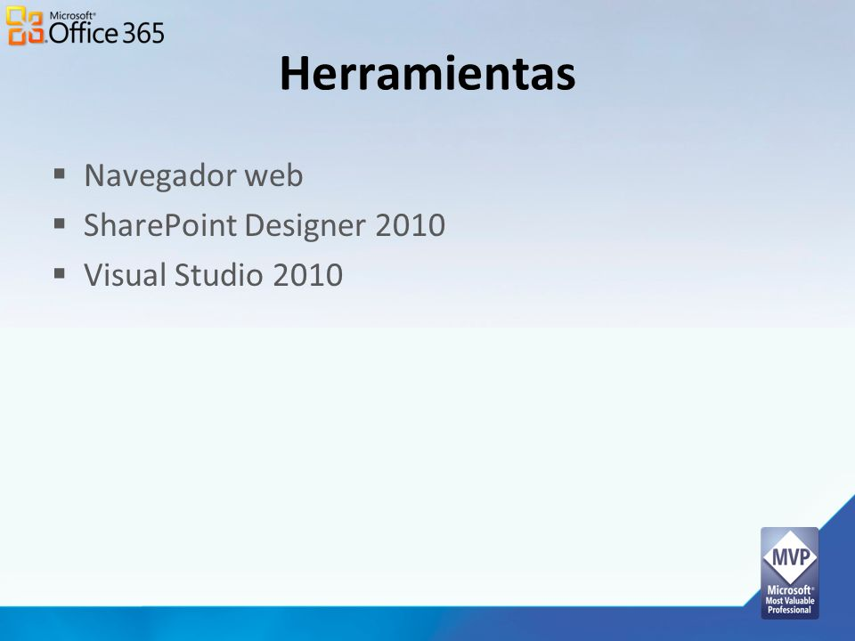 Herramientas Navegador web SharePoint Designer 2010 Visual Studio 2010
