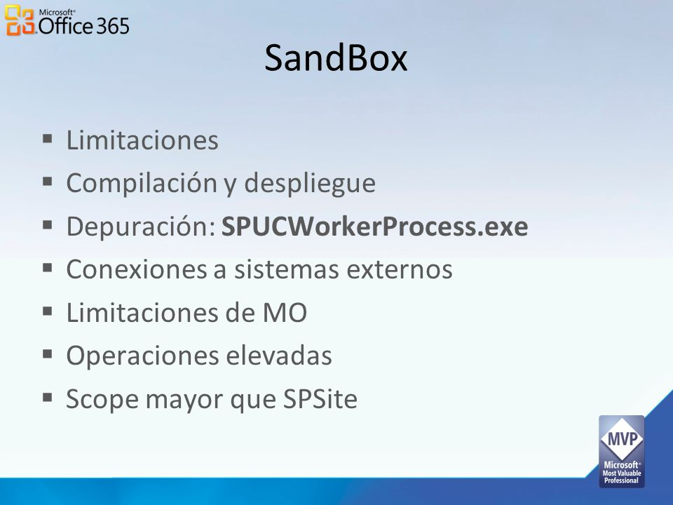 SandBox Limitaciones Compilación y despliegue