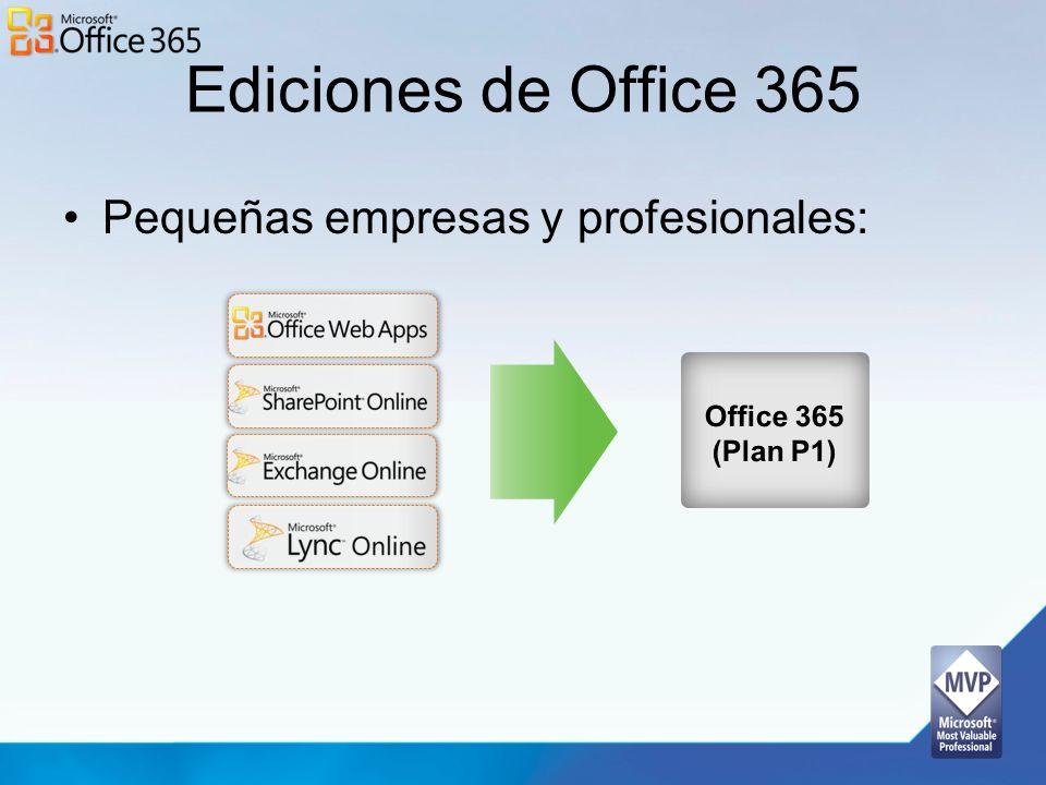 Ediciones de Office 365 Pequeñas empresas y profesionales: Office 365