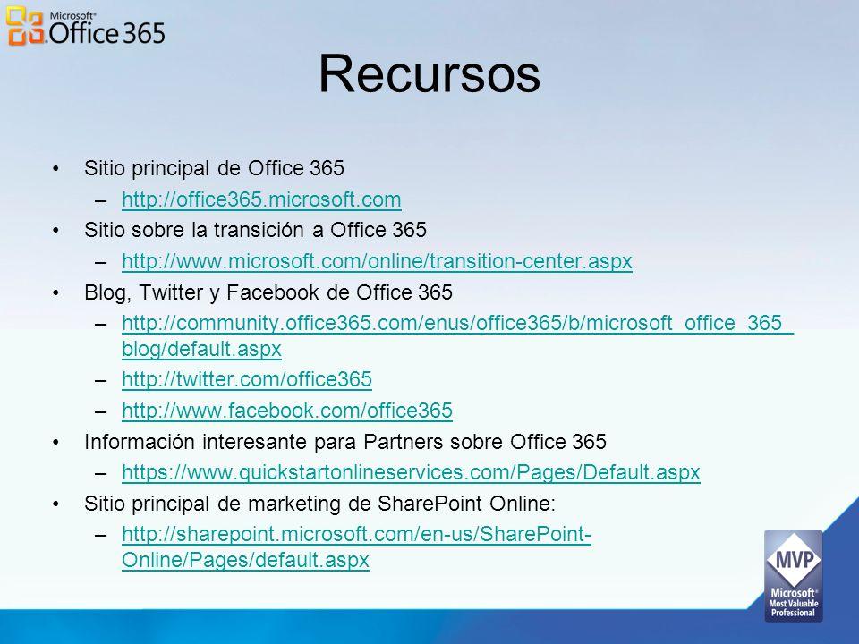 Recursos Sitio principal de Office 365 http://office365.microsoft.com